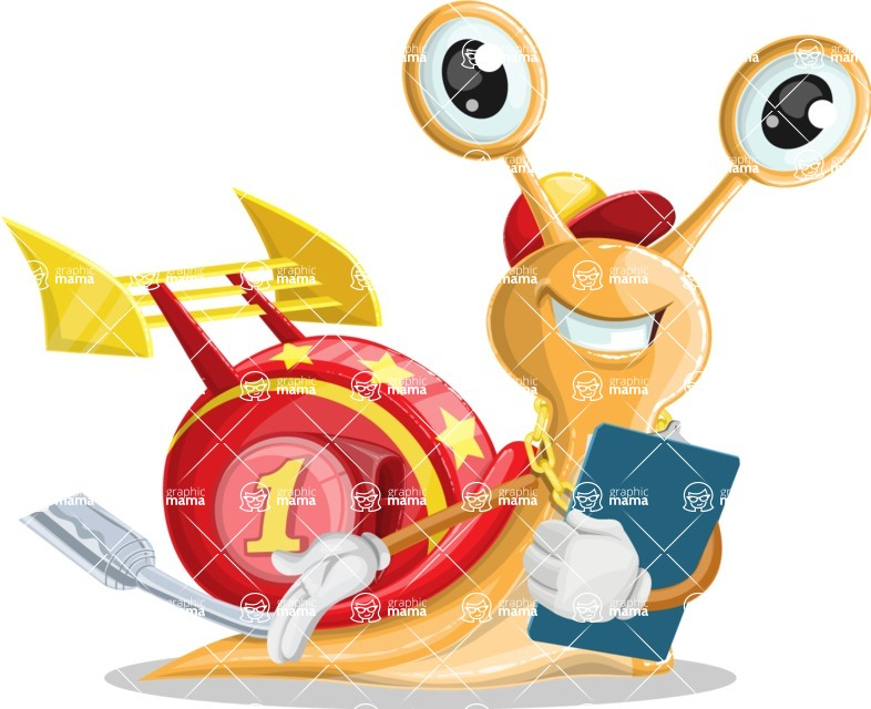 Racer Snail Cartoon Vector Character AKA Mr. Speedy - Notepad 2