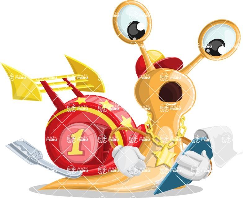 Racer Snail Cartoon Vector Character AKA Mr. Speedy - Notepad 3