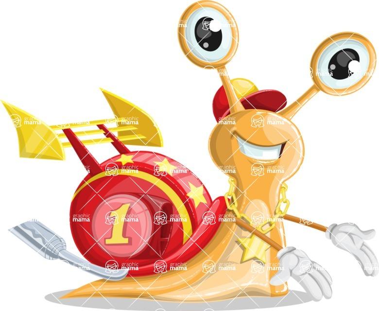 Racer Snail Cartoon Vector Character AKA Mr. Speedy - Showcase 2