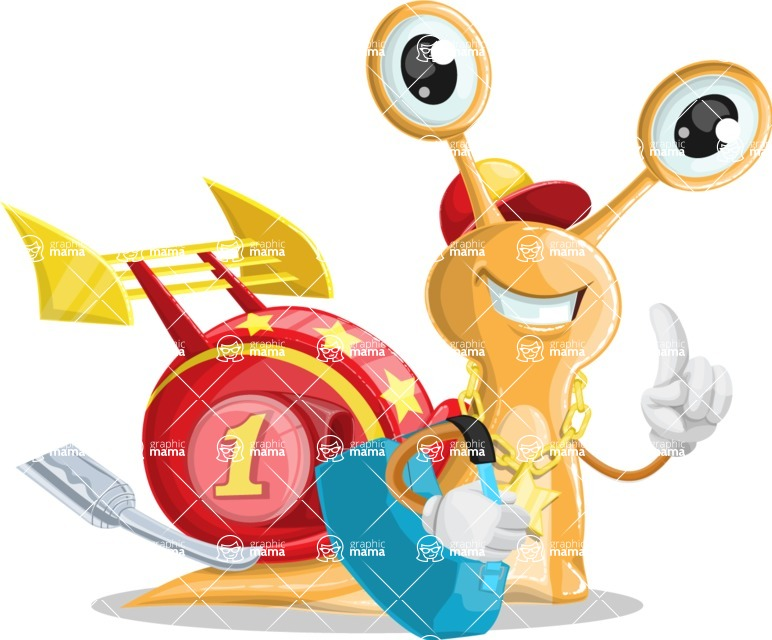 Racer Snail Cartoon Vector Character AKA Mr. Speedy - Travel