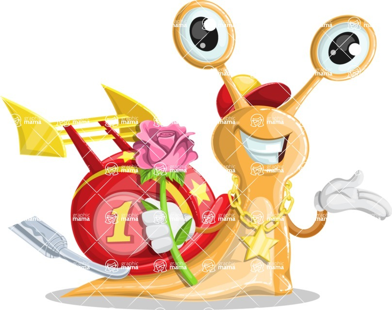 Racer Snail Cartoon Vector Character AKA Mr. Speedy - Rose