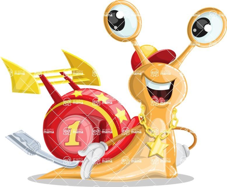 Racer Snail Cartoon Vector Character AKA Mr. Speedy - Show