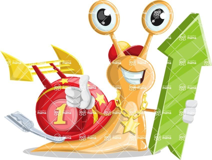 Racer Snail Cartoon Vector Character AKA Mr. Speedy - Pointer 1