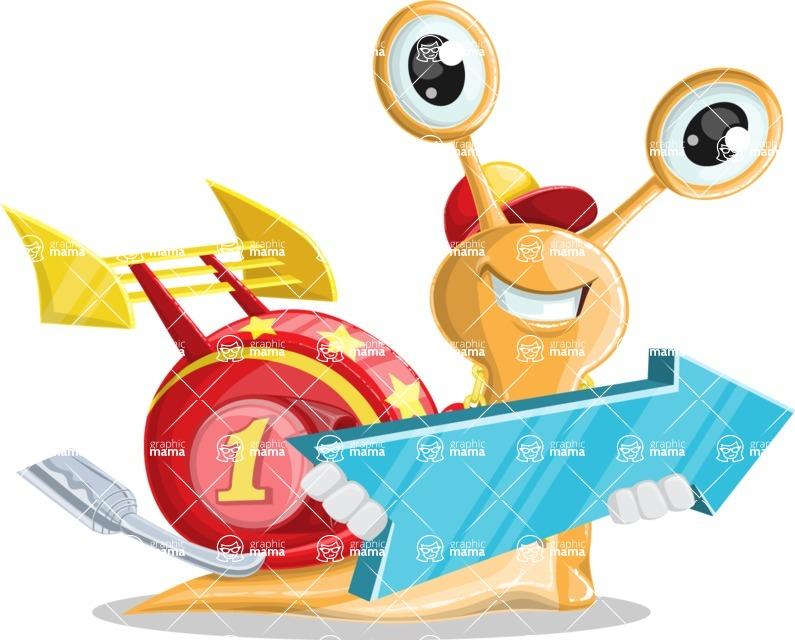 Racer Snail Cartoon Vector Character AKA Mr. Speedy - Pointer 2