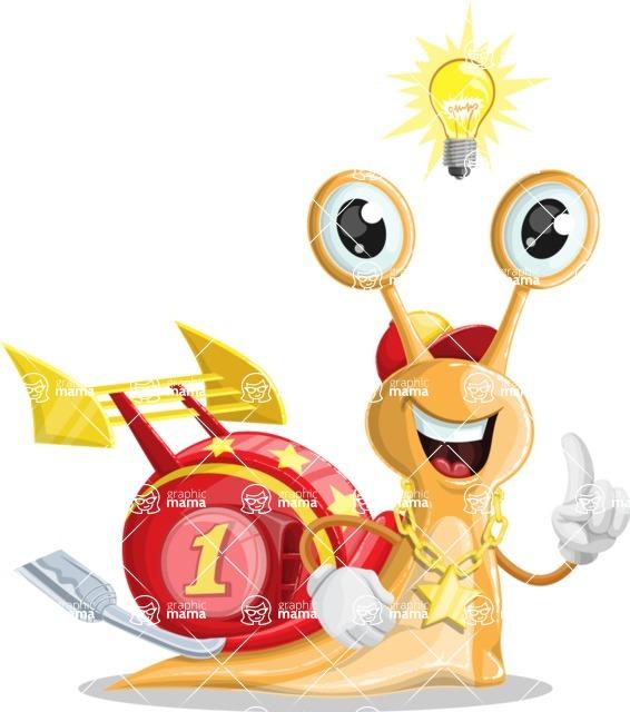 Racer Snail Cartoon Vector Character AKA Mr. Speedy - Idea 1