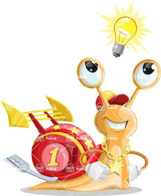 Racer Snail Cartoon Vector Character AKA Mr. Speedy - Idea 2