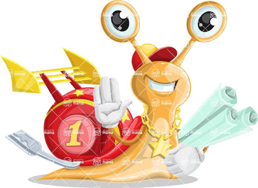 Racer Snail Cartoon Vector Character AKA Mr. Speedy - Plans
