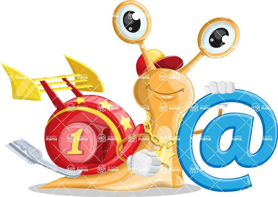 Racer Snail Cartoon Vector Character AKA Mr. Speedy - Email