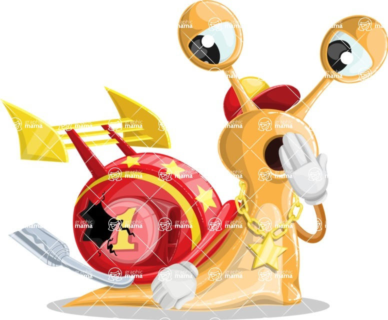 Racer Snail Cartoon Vector Character AKA Mr. Speedy - Broken