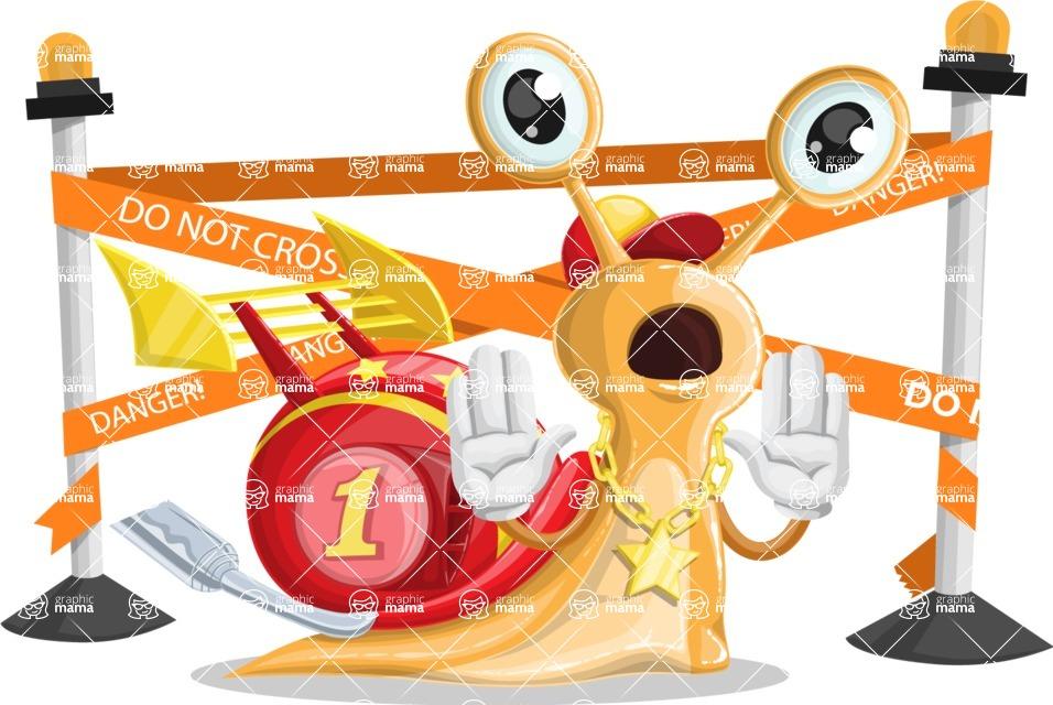 Racer Snail Cartoon Vector Character AKA Mr. Speedy - Under Construction