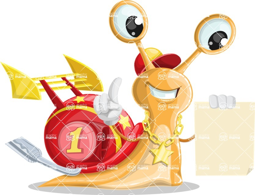 Racer Snail Cartoon Vector Character AKA Mr. Speedy - Sign 2