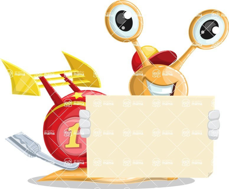 Racer Snail Cartoon Vector Character AKA Mr. Speedy - Sign 5