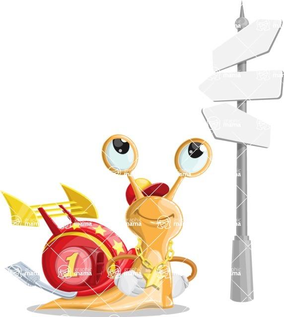 Racer Snail Cartoon Vector Character AKA Mr. Speedy - Crossroad