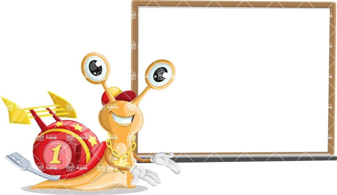 Racer Snail Cartoon Vector Character AKA Mr. Speedy - Presentation 3