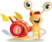 Racer Snail Cartoon Vector Character AKA Mr. Speedy - Normal