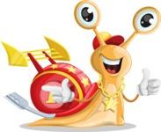 Racer Snail Cartoon Vector Character AKA Mr. Speedy - Point2
