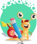 Racer Snail Cartoon Vector Character AKA Mr. Speedy - Shape 5