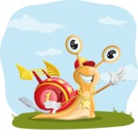 Racer Snail Cartoon Vector Character AKA Mr. Speedy - Shape 9