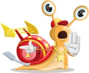 Racer Snail Cartoon Vector Character AKA Mr. Speedy - Direct Attention 2