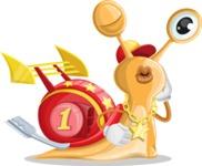 Racer Snail Cartoon Vector Character AKA Mr. Speedy - Duckface