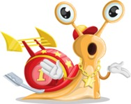 Racer Snail Cartoon Vector Character AKA Mr. Speedy - Confused