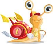 Racer Snail Cartoon Vector Character AKA Mr. Speedy - Patient