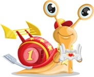Racer Snail Cartoon Vector Character AKA Mr. Speedy - Show Love