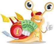 Racer Snail Cartoon Vector Character AKA Mr. Speedy - Show me the Money