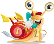 Racer Snail Cartoon Vector Character AKA Mr. Speedy - Support