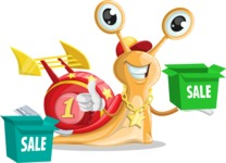 Racer Snail Cartoon Vector Character AKA Mr. Speedy - Sale