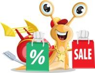 Racer Snail Cartoon Vector Character AKA Mr. Speedy - Sale2