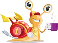Racer Snail Cartoon Vector Character AKA Mr. Speedy - Coffee