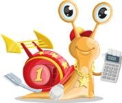 Racer Snail Cartoon Vector Character AKA Mr. Speedy - Calculator
