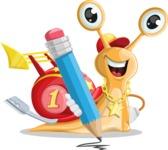 Racer Snail Cartoon Vector Character AKA Mr. Speedy - Pencil