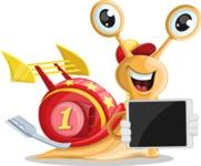 Racer Snail Cartoon Vector Character AKA Mr. Speedy - iPad 2