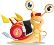 Racer Snail Cartoon Vector Character AKA Mr. Speedy - iPad3