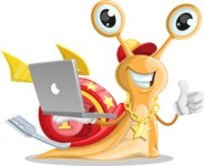 Racer Snail Cartoon Vector Character AKA Mr. Speedy - Laptop 1