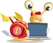 Racer Snail Cartoon Vector Character AKA Mr. Speedy - Laptop 2