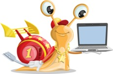 Racer Snail Cartoon Vector Character AKA Mr. Speedy - Laptop 3