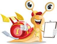 Racer Snail Cartoon Vector Character AKA Mr. Speedy - Notepad 4