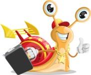Racer Snail Cartoon Vector Character AKA Mr. Speedy - Brifcase 1