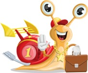 Racer Snail Cartoon Vector Character AKA Mr. Speedy - Brifcase 2