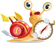 Racer Snail Cartoon Vector Character AKA Mr. Speedy - Time is yours