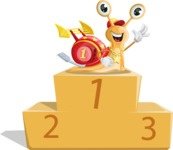 Racer Snail Cartoon Vector Character AKA Mr. Speedy - On Top