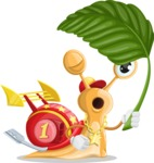 Racer Snail Cartoon Vector Character AKA Mr. Speedy - Leaf