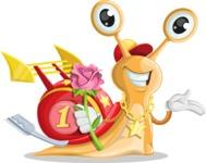 Racer Snail Cartoon Vector Character AKA Mr. Speedy - Rose