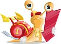 Racer Snail Cartoon Vector Character AKA Mr. Speedy - Pointer 3