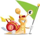 Racer Snail Cartoon Vector Character AKA Mr. Speedy - Checkpoint