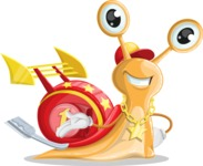 Racer Snail Cartoon Vector Character AKA Mr. Speedy - Show2