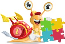 Racer Snail Cartoon Vector Character AKA Mr. Speedy - Puzzle